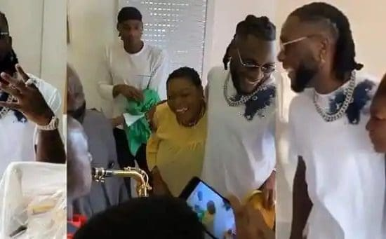emotional moment Burna Boy's mother surprised him on his birthday