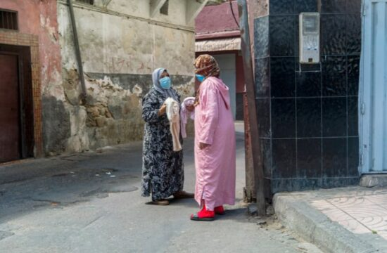 Women chatting near their houses during the state of emergency declare to contain Corona Virus's spread in Morocco