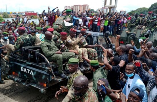residents cheer on army soldiers after uprising that led to toppling of president alpha conde in guinea