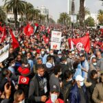 tunisians march in the streets to protest president saied