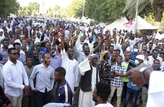pro army protestors rally again near sudans presidential palace