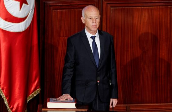 file photo: tunisian president kais saied takes the oath of office in tunis
