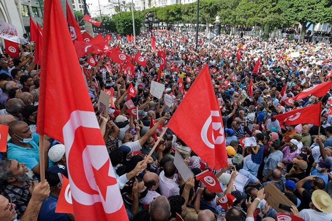 Tunisians protest against President Saied's extraordinary measures